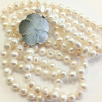 3-row Necklace of Large Baroque Pearls with Carved  Clasp